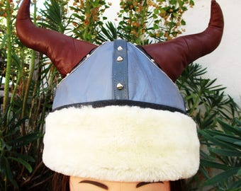 Leather Winter Viking Helmet w/ Shearling Brim/ Studs
