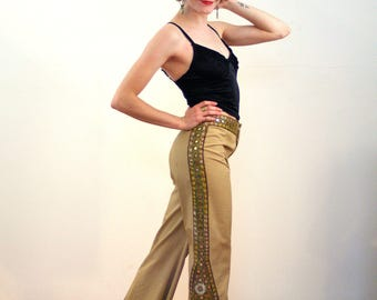 Haizea, 70s Bell Bottoms S XS, Embroidered Bellbottoms, 1970s Hippie Pants, Hippie Bell Bottoms, India Mirror Pants, Embellished 70s Pants