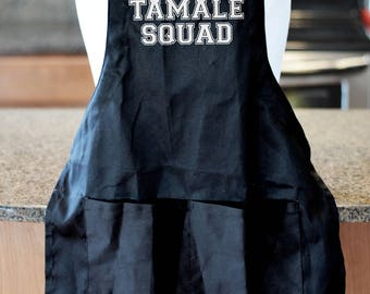 Tamale Squad Apron, Funny Mexican aprons for men, aprons for women, mexican food, tamale shirt, Christmas apron, taco party,  Christmas gift