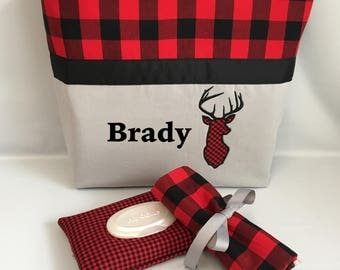 Buffalo PLAID  and DEER  ...  Diaper Bag .. Changing Pad  ...  WIPE Cover Set ... Gray Red Black