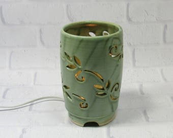 Mood Lighting - Ambiance Lighting - Ceramic Night Light - Pottery Lamp - Green Table Lamp - Decorative Lamp - Romantic Lighting - Lantern
