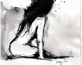Nude sketch - 8x12 Ink painting on canvas 20x30cm -  sitting brunette woman 2