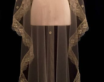 Knee Length Sand Mantilla With Gold Lace