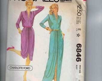 1970s Vintage Sewing Pattern McCalls 6846 Charlotte Ford Designer Misses Grecian Draped Dress Retro Shoulder Pleats Size 8 Bust 31 32 1979