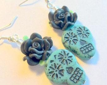 Sugar Skull Earrings Day of the Dead Turquoise Black Czech Glass