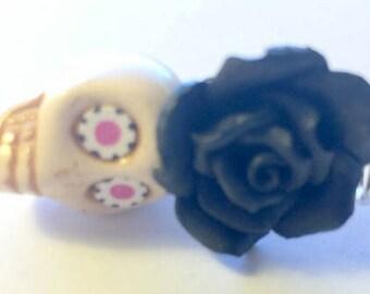 Black and White Rose Sugar Skull Day of the Dead Handmade Pendant