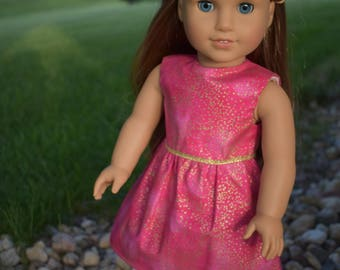 """18"""" Doll Pink and Gold Shimmer Outfit for American Girl Dolls"""