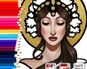 Printable Coloring Book Page for Adults - Lady of Eternity Mucha Inspired Logo in Art Nouveau Style Line Art