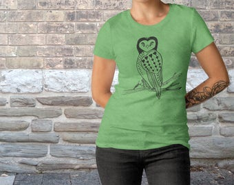 Primitive Heart Owl Drawing Graphic Bella Canvas Make Tri-Blend Women's Light Slim Fit T-Shirt, Owl Lover Gift