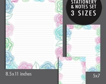 Flower Stationery Notes and Letter Set - 3 Sizes - Diy Digital Printable INSTANT DOWNLOAD - Item 124C