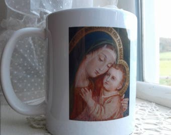 Our Lady of Good Counsel, Mother of God, Virgin Mary, Wraparound Coffee Mug With Beautiful Memorare Prayer on Back, Great Gift Idea