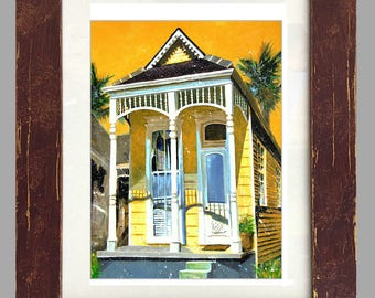 "New Orleans Shotgun House Distressed Framed Art ""Nola House"" Matted Print Signed and Numbered"