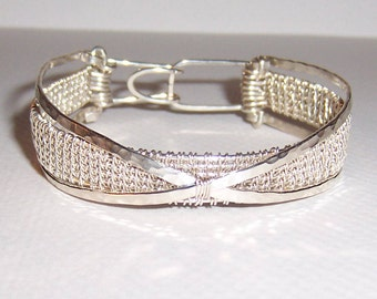 "Sterling Silver Wire Woven ""Stacked"" Bracelet"