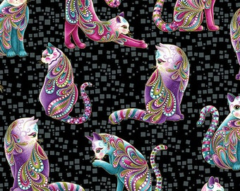 Cat-i-tude Black Gold Purple Cats Benartex Fabric