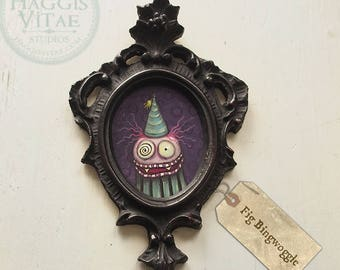 "Original painting - ""Fig Bingwoggle"" miniature acrylic painting in vintage frame 2.5"" x 3"" painting"