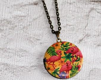 Flamingo Locket Necklace, Bird Necklace, Flamingo Pendant, Pink Bird Jewelry