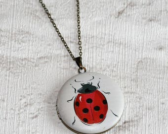 Ladybird Locket Necklace, Red Ladybug Necklace, Animal Jewelry