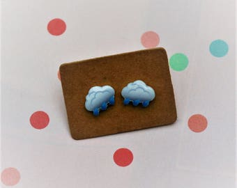 Rain Cloud Earrings, Teeny Tiny Earrings, Cloud Jewelry, Cute Earrings