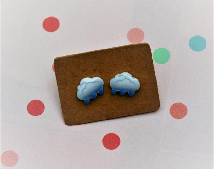 Rain Cloud Earrings, Teeny Tiny Earrings, Cloud Jewelry, Cute Earrings