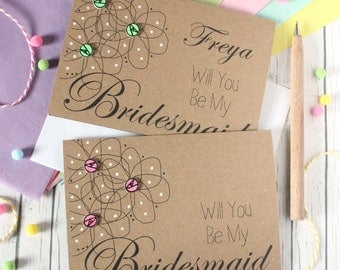 Personalised Bridesmaid Card. Bridesmaids Card. Bridesmaid Cards. Will You Be My Bridesmaid. Flowers. Be My Bridesmaid. Floral Wedding Card.