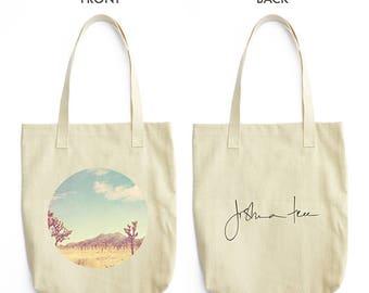 tote bag, Joshua Tree bag, farmers market tote, California travel bag, blue, yellow, desert Palm Springs, Coachella, beach bag, school bag