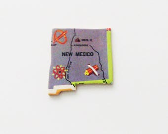 1961 New Mexico Brooch - Pin / Unique Wearable History Gift Idea / Upcycled Vintage Wood Jewelry / Timeless Gift Under 25
