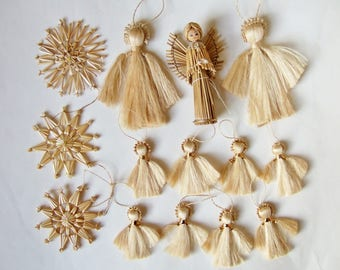 Straw Christmas Angels and Stars - 14 Vintage Xmas Tree Ornaments in Natural Materials