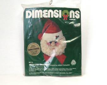"Dimensions Santa Claus 1981 Needlework Kit/ 5"" Ornament No. 8012 Sealed/ Christmas Craft"