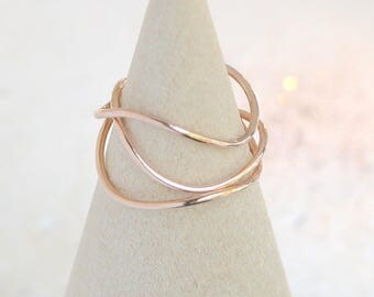 stacking ring set of three. GOLD, SILVER or ROSE gold. wavy ring. first knuckle ring. mid ring. midi ring. stack ring. thin dainty ring.