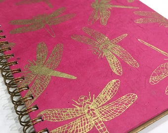 Ruled Journal - Gold Dragonflies on Fuchsia
