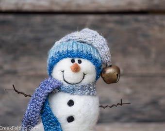 Needle Felt Snowman - Needle Felted Snowman - Christmas Snowman - Christmas Decoration - Christmas Decor -  Wool Snowman - Winter Décor -848