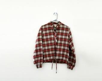 vintage 50s Tartan Plaid Ladies Gathered Front Cropped Blouse // Size M L