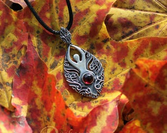 Goddess within - sculpted silver and garnet, goddess of fire, garnet pendant, feminism, girl power, goddess pendant, limited collection