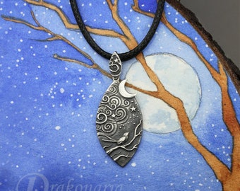Magical Night - sculpted sterling silver pendant, forest stories, moon, silver bird and night sky, starry night, clouds, limited collection
