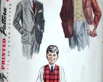 Boy's Suit Jacket and Vest, Vintage 50's Simplicity 4134 Sewing Pattern, Size 4, 23 Chest, 1950's