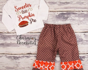 NEW Fall Thanksgiving Outfit, Baby Toddler Girl Clothes, Top Ruffle Pants Set, Sweeter Than Pumpkin Pie Charming Necessities Brown Orange