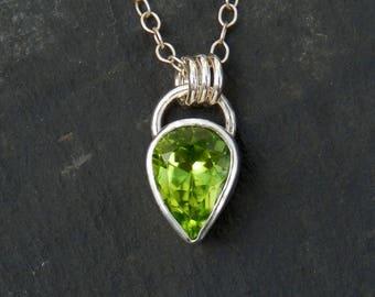 Peridot necklace/ sterling silver pendant / teardrop peridot / August birthstone / peridot jewelry / peridot pendant / ready to ship / gift