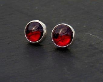 Garnet stud earrings / garnet earrings / garnet jewelry / gemstone studs / January birthstone / 8mm garnet studs / ready to ship / red gem