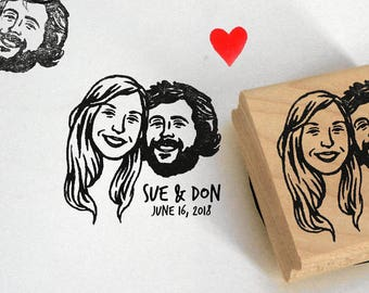 Save the date valentine's gift wedding favors Custom portraits Personalized gifts Unique couples' art / Portrait stamps wedding gift