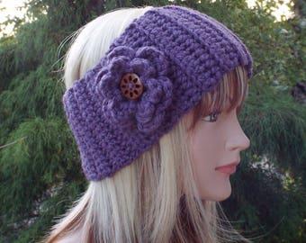 Iris Purple Ear Warmer, Crochet Headband with Flower, Head Wrap, Womens Ski Band, Chunky Earwarmer, Winter Headband, Gift for Her