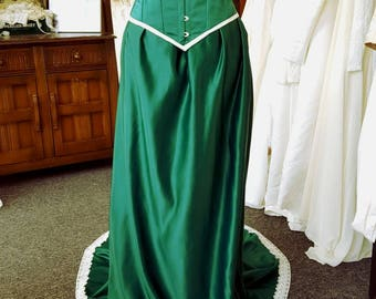 Ready to ship Sample Sale Emerald green and ivory Bridal gown with steel boned corset, Guinevere