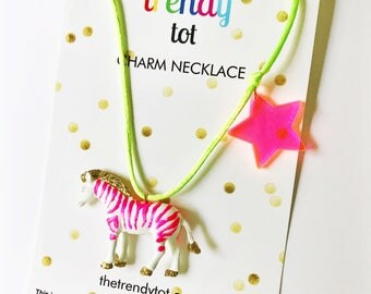 Lilly Pulitzer Style Necklace. Pink Zebra Necklace. Preppy Statement necklace. Gift for Girl. Girls Necklace. Kids Necklace. Girls Jewelry.