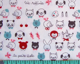 Cotton Fabric - Dog, Panda, Pig, Bear, Rabbit , Frog and various animal designs, French text - select cut