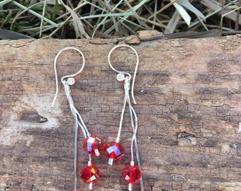 Sterling Silver Tassel Earrings, Red Beaded Tassel Earrings