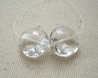 White Topaz Faceted Coin Beads 11.5mm  - Matched Gemstone Pair