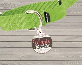 Personalized round pet tag flowers -  sweet ID tag for pets  DT-002