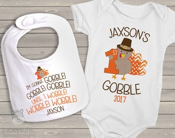 Baby's first thanksgiving outfit - matching bib and bodysuit / shirt set - 1st turkey day first thanksgiving SNLF-037-038