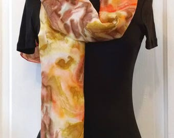 Warm Brown Coral Gold Handpainted Silk Scarf, 14x69 inches, Painted Silk Scarf, Abstract Scarf, Large Silk Scarf, Dressy Silk Scarf