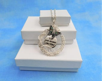 """Butterfly Jewelry Girlfriend Gift, Woven Wire, """"Let Your Dreams Take Flight"""" Necklace, Artisan Crafted, Present for Her, Wife Daughter, Mom"""