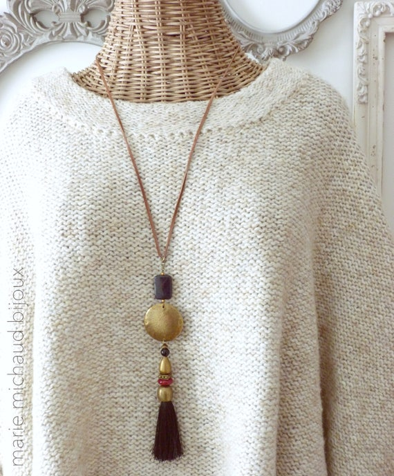 Boho necklace with tassel,Hippie chic necklace,Bohemian necklace with tassel,Tassel necklace,Silk and leather necklace,Statement necklace